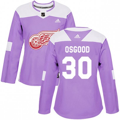 Women's Authentic Detroit Red Wings Chris Osgood Adidas Hockey Fights Cancer Practice Jersey - Purple